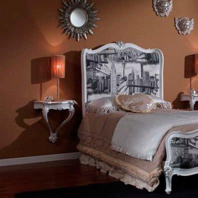 3615 COMODINO, Comodino laccato bianco adatto per camere da letto classiche