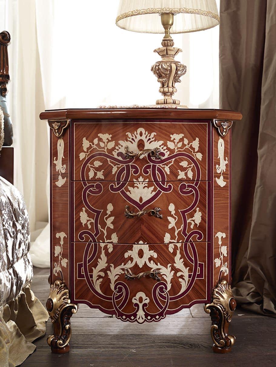 Comodino 3 cassetti per camere da letto in stile classico - Camere da letto stile classico ...