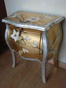 Art. 1407/Z, Comodino classico per la camera, con decorazioni oro e argento