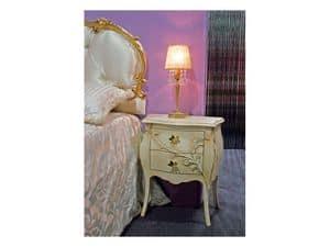 Art. 1601 Jasmine, Comodino in stile classico, intagliato, per albergo