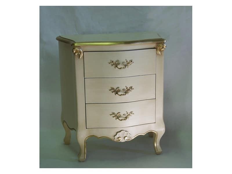 Art. 1786 avorio, Comodino in legno, finitura in avorio e oro, per hotel