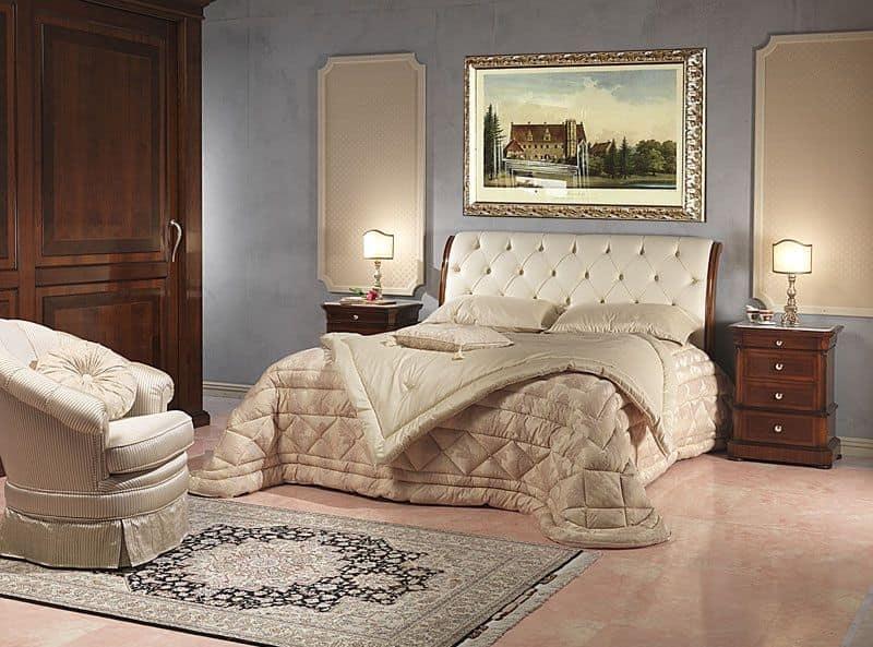 Art. 952/2 comodino, Comodino intagliato, piano in marmo di carrara, per camera da letto