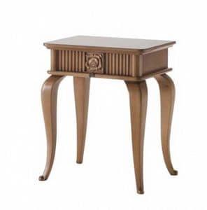Art. CA723, Comodino in legno, stile classico, con cassetto