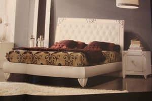 Art. IR094, Comodino laccato bianco, per camere da letto in stile