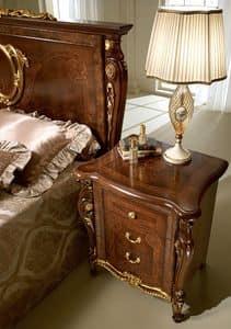 Donatello comodino, Comodini classici di lusso, in legno intagliato, per camera da letto