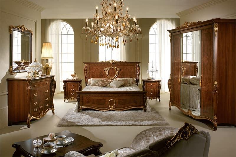 Comodini classici di lusso in legno intagliato per - Camere da letto bianche classiche ...