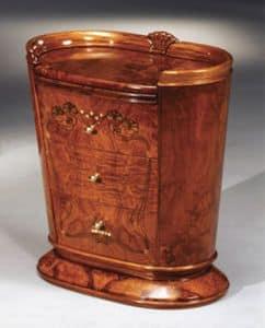 Flory comodino, Comodino con piano estraibile, decorazioni in foglia oro