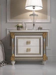 Liberty comodino, Comodino di lusso in legno, stile classico, per Hotel e camere prestigiose