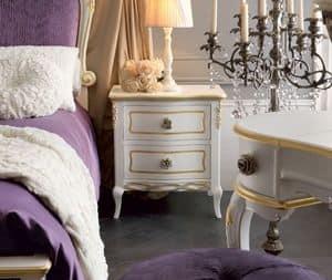 Live 5301 comodino, Comodino in legno, decorato a mano, dal design classico