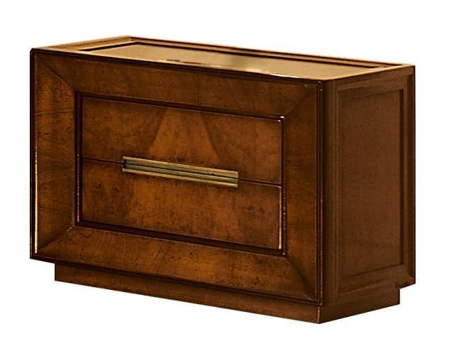 Metropolitan CH.0601, Comodino a 2 cassetti, in legno di noce e frassino