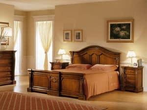 REGINA NOCE / Comodino, Comodino in legno, intagliato a mano, per Camera da letto
