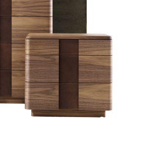 710401 York, Comodino in legno e pelle, dal design contemporaneo