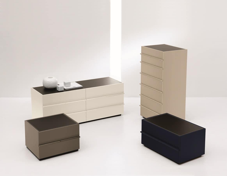 Comodino moderno laccato per camera da letto idfdesign - Comodini da camera da letto ...