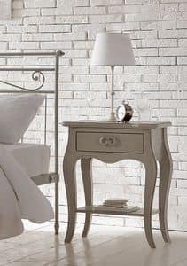 Amedeo comodino, Comodino in legno massello, decorato con vernici atossiche