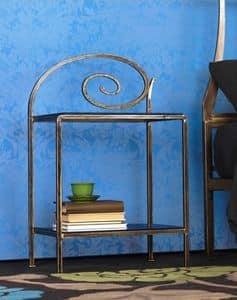 Capriccio Comodino, Comodini in metallo con decorazioni, per camera d'albergo