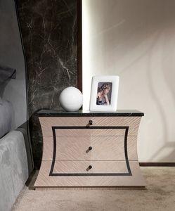 CD30 Cartesio, Comodino in legno, con piano in marmo