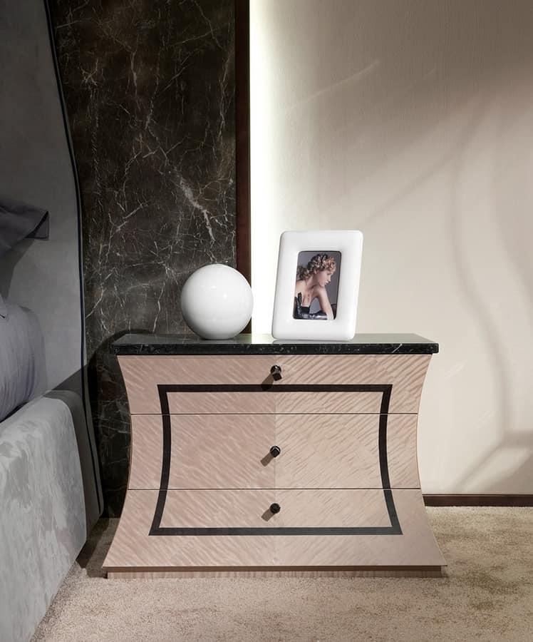 CD30 Cartesio comodino, Comodino in legno, con piano in marmo