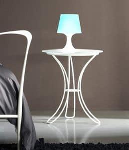 Comodino Fiocco, Comodino con base in metallo e piano in vetro satinato