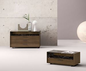 Display, Comodino design con piano in vetro trasparente
