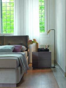 ELYSEE comodino legno/tessuto, Comodino design in legno, tessuto e vetro