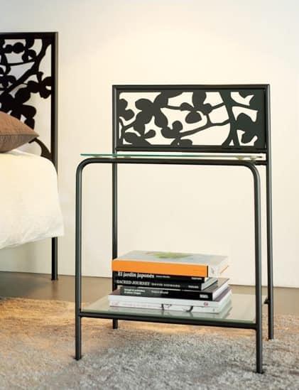 Flower Comodino, Comodino moderno in metallo e ripiani in vetro