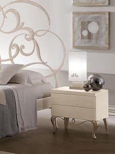 Ghirigori comodino, Comodino in legno con base in ferro, per camere da letto