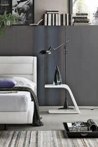 JUMP TC500, Coppia di comodini laccati bianchi per camere da letto