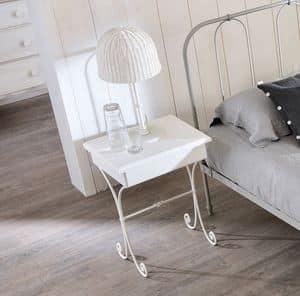 Nuvola Old Style comodino, Comodino in ferro curvato, piano in legno