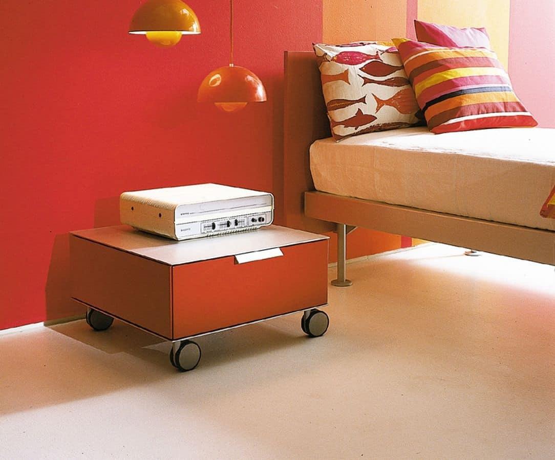 PRISMA comp.06, Comodino moderno con ruote, per la camera dei bambini