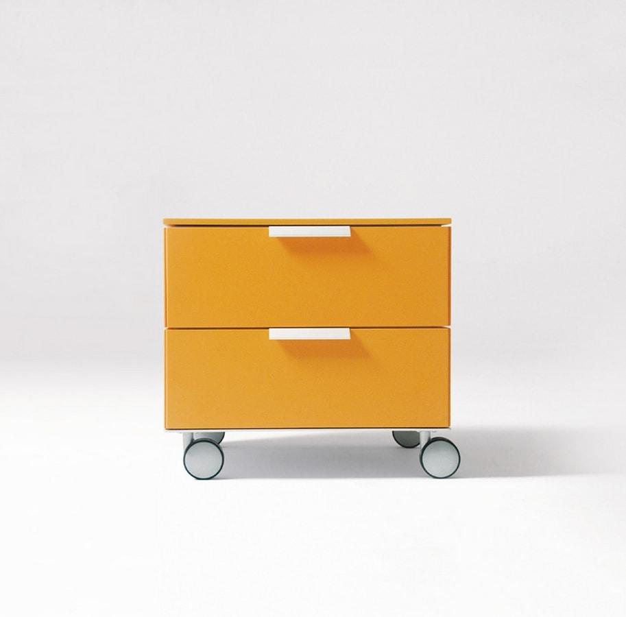 Comodino moderno, maniglia in alluminio, per camerette | IDFdesign