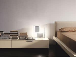 PRISMA comp.08, Comodino moderno, design lineare, per la camera da letto