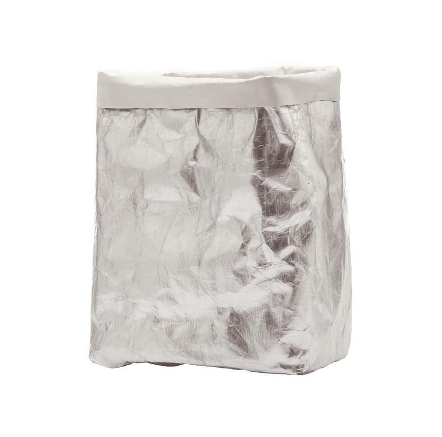 Greta, Box contenitore in fibra di cellulosa shine argento