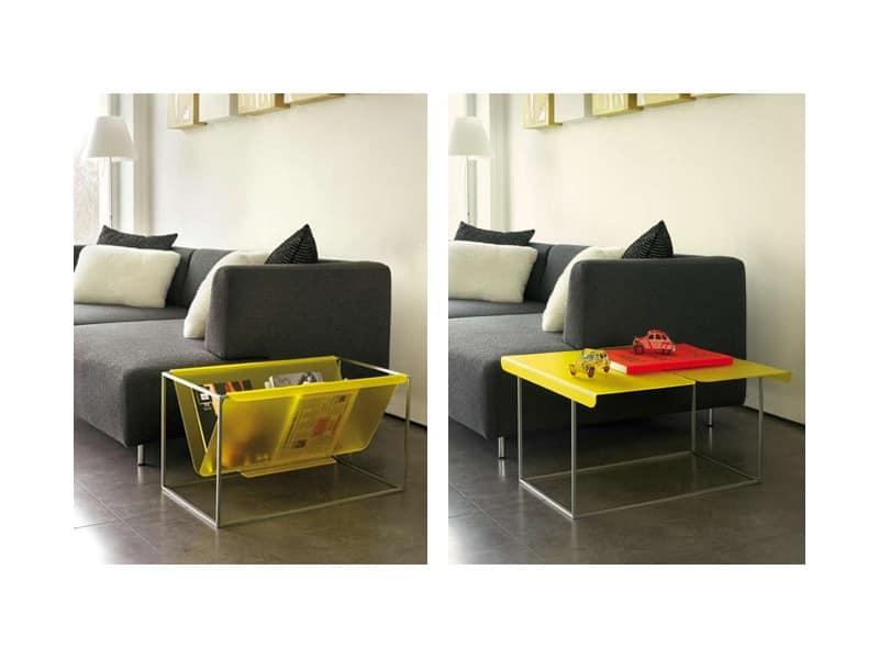 Flap, Porta riviste in acciaio inox, trasformabile in tavolino