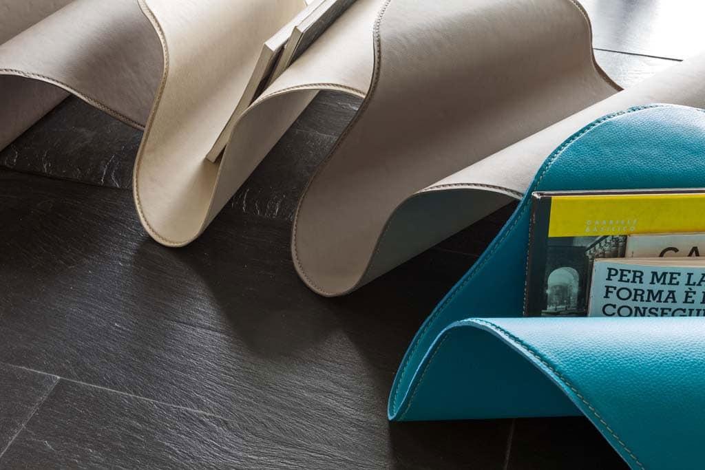 FLY, Porta riviste in metallo curvato e pelle, per casa e ufficio