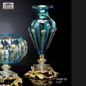 940Bxxx, Soprammobili in cristallo incamiciato turchese e trasparente