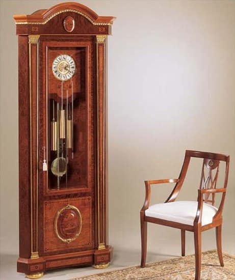 IMPERO / Orologio a pendolo ad angolo, Orologio a pendolo in frassino, stile classico di lusso