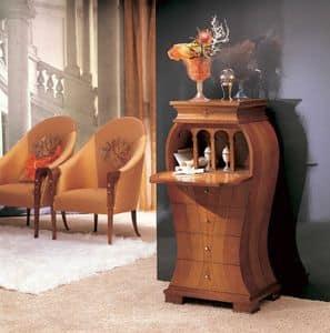 MB21 Iris, Mobiletto classico, in legno intarsiato con madreperla