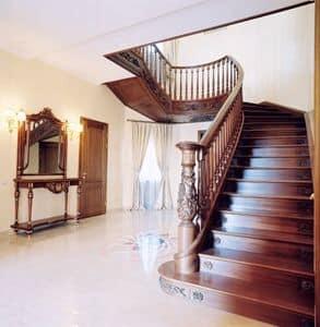 Scale su misura, Scala a giorno in legno, intagli e decorazioni realizzate a mano