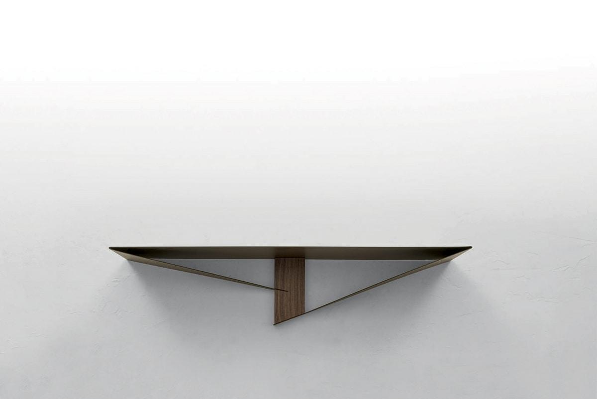 ALBATROS CONSOLLE, Consolle in metallo con elemento centrale  in finitura legno
