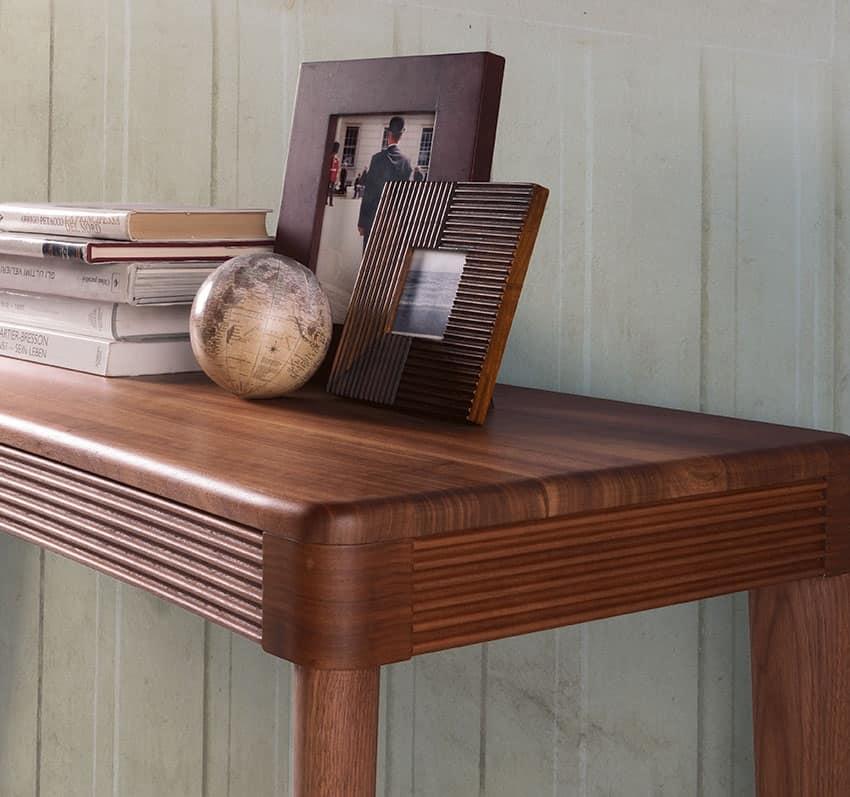 Consolle in noce con piano in legno massello idfdesign for Tavolo consolle allungabile legno massello
