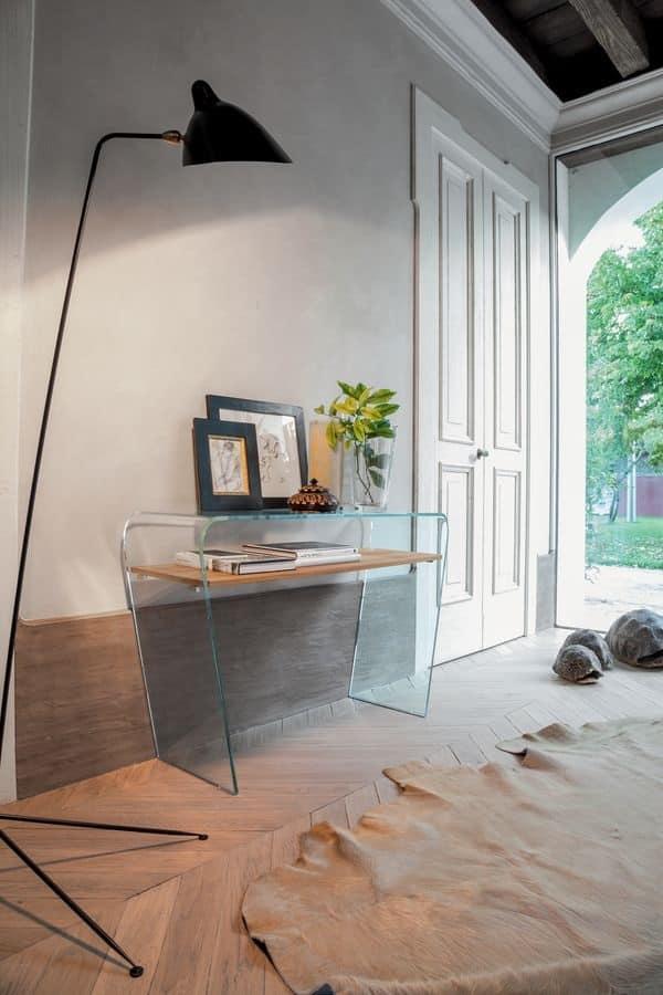 Consolle in vetro curvo ripiano in legno per ingresso for Consolle ingresso vetro