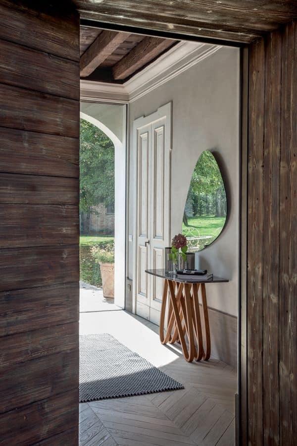 ARPA, Consolle in legno con top in vetro, marmo o ceramica