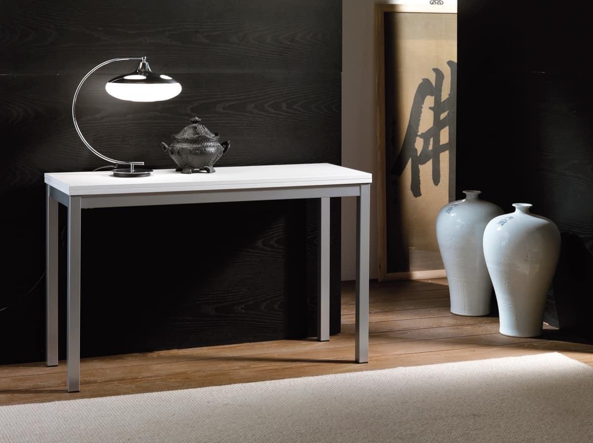 Tavolo Consolle Allungabile Magika.Consolle In Metallo Con Piano In Nobilitato Bianco Idfdesign