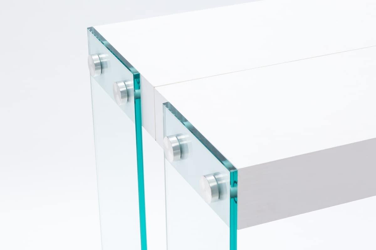 Art. 732 Iceberg, Consolle con gambe in vetro, allungabile