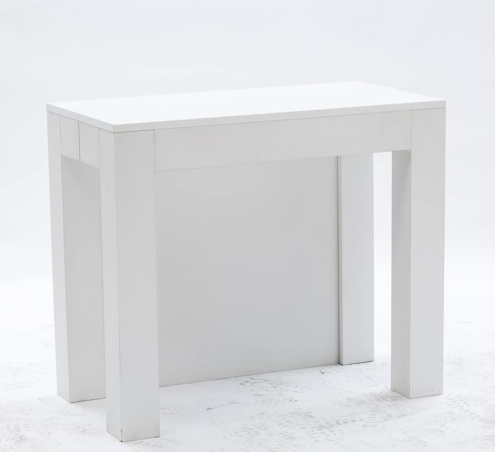 Elgante consolle allungabile finitura bianca idfdesign for Consolle bianca