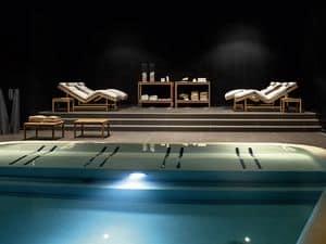 Barcode consolle, Consolle in legno teak, per spa e piscine