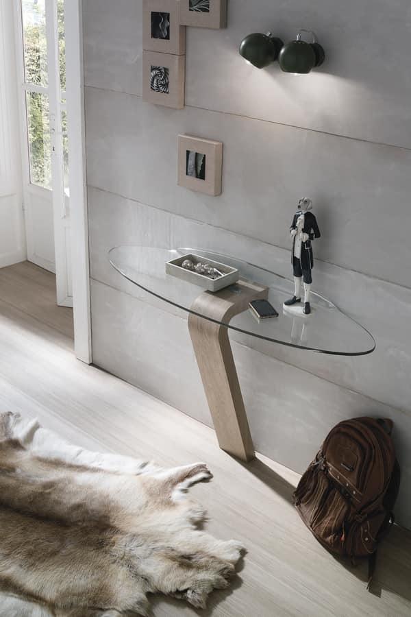 OMNIA CO503, Consolle in laminato, con piano ovale in vetro