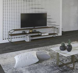 Consolle TV Yin, Consolle TV in ferro e legno