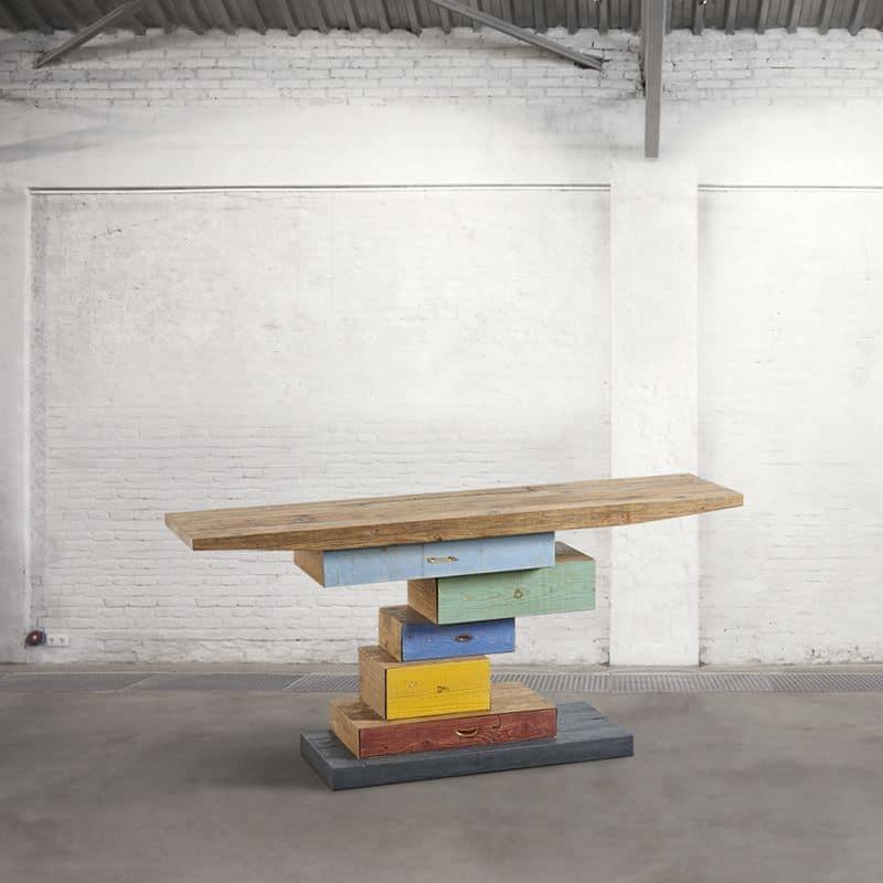 Db003931 consolle colorata realizzata con legno riciclato for Consolle colorata