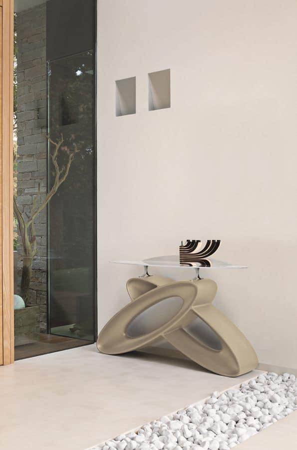 ECLIPSE CO400, Consolle moderna con piano in vetro e base in poliuretano